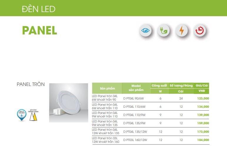 báo giá đèn led panel rạng đông